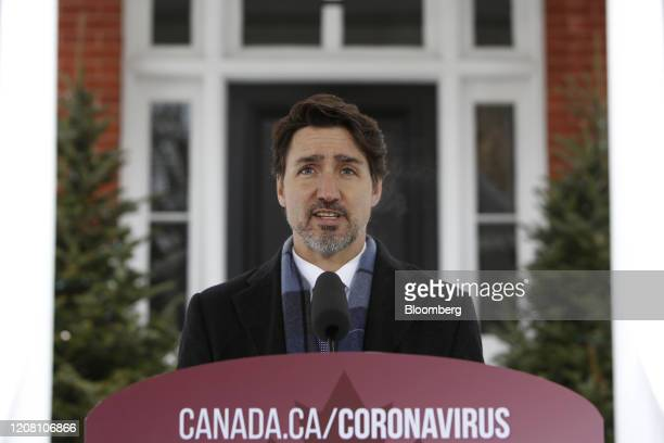 Justin Trudeau Canada's prime minister speaks during a news conference outside Rideau Cottage in Ottawa Ontario Canada on Tuesday March 24 2020...