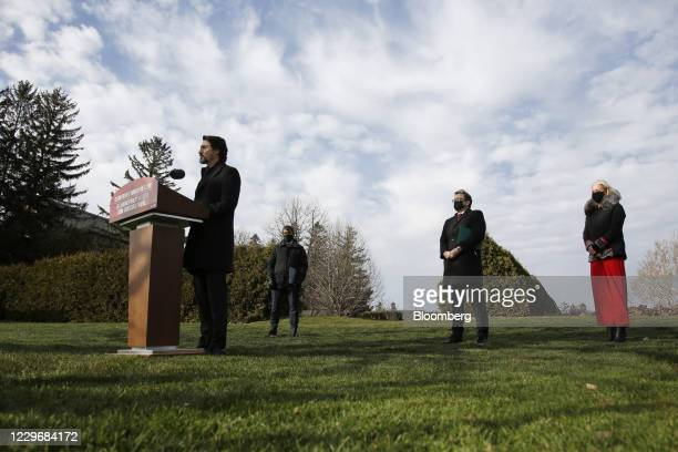 Justin Trudeau, Canada's prime minister, speaks during a news conference with Steven Guilbeault, Canada's heritage minister, from left, Jonathan...