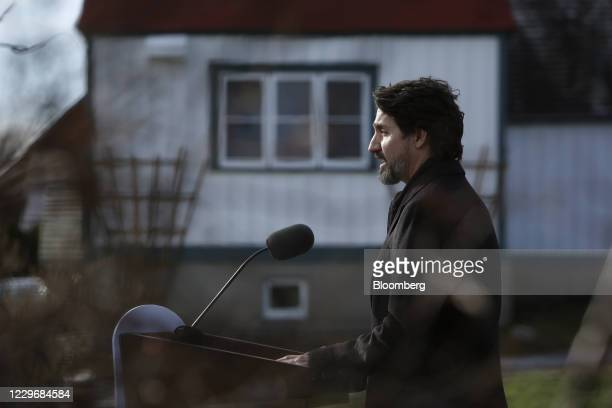Justin Trudeau, Canada's prime minister, speaks during a news conference at the Ornamental Gardens in Ottawa, Ontario, Canada, on Thursday, Nov. 19,...