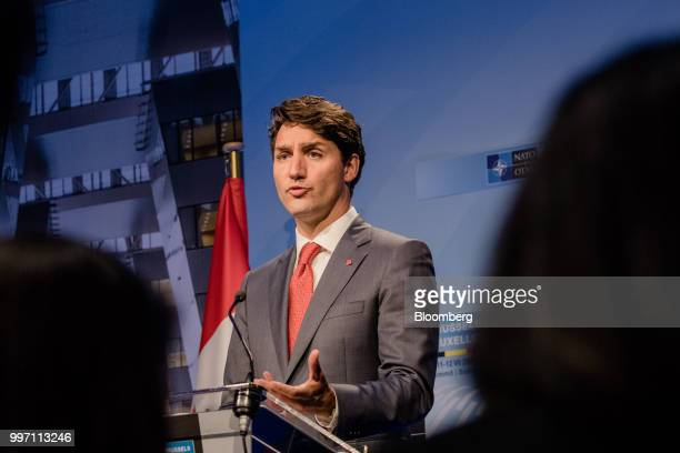 Justin Trudeau Canada's prime minister speaks during a news conference at the North Atlantic Treaty Organization summit in Brussels Belgium on...