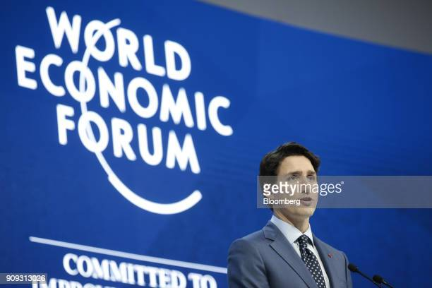 Justin Trudeau Canada's prime minister speaks during a special session on the opening day of the World Economic Forum in Davos Switzerland on Tuesday...
