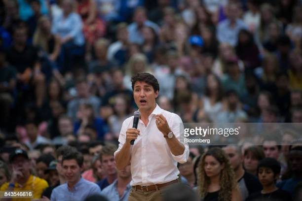 Justin Trudeau, Canada's Prime Minister, speaks during a town hall meeting at the University of British Columbia Okanagan campus during the Federal...
