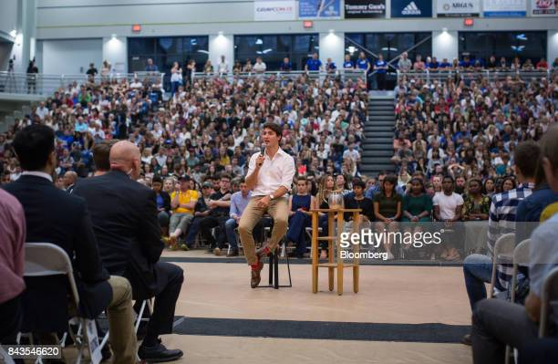 Justin Trudeau Canada's Prime Minister speaks during a town hall meeting at the University of British Columbia Okanagan campus during the Federal...