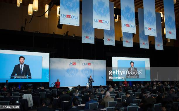 Justin Trudeau Canada's prime minister speaks during the 2017 UN Peacekeeping Defence Ministerial conference in Vancouver British Columbia Canada on...