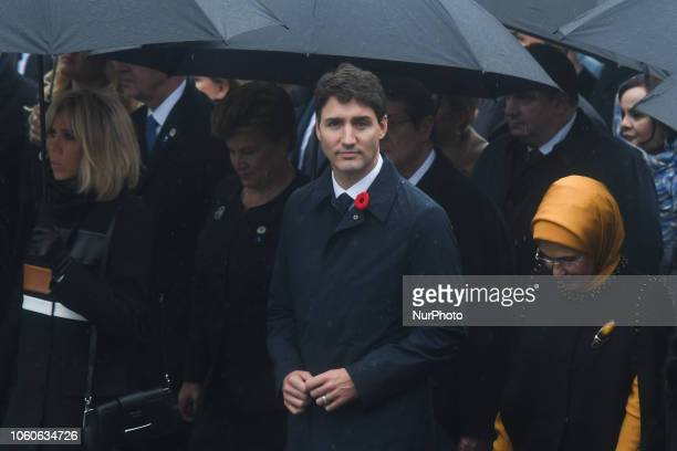 Justin Trudeau Canadian Prime Minister walk the Champs Elysee with other 60 heads of state and government who arrived to Paris to commemorate the end...