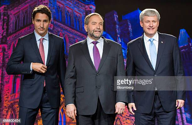 Justin Trudeau leader of the Liberal Party of Canada from left Thomas 'Tom' Mulcair leader of the New Democratic Party and Conservative Leader...