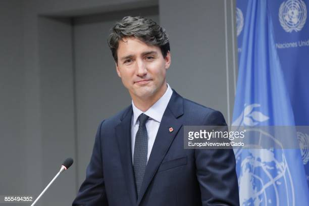 Justin Trudeau Prime Minister of Canada addresses a press conference on at the United Nations headquarters in New York City New York September 21 2017