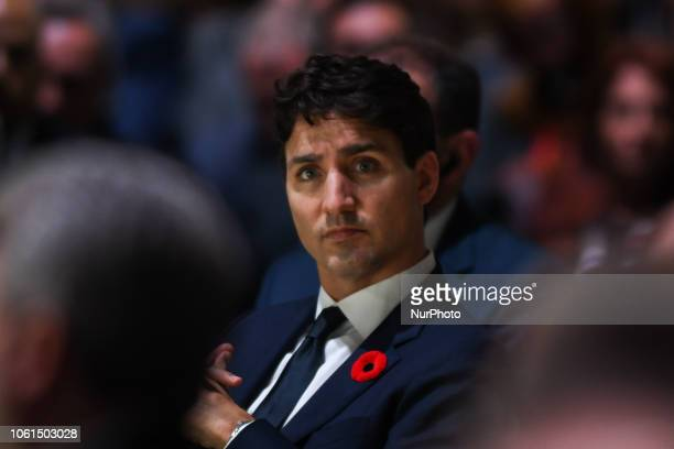 Justin Trudeau Prime Minister of Canada during the opening session of the Paris Peace Forum an event that is a part of the commemoration ceremonies...