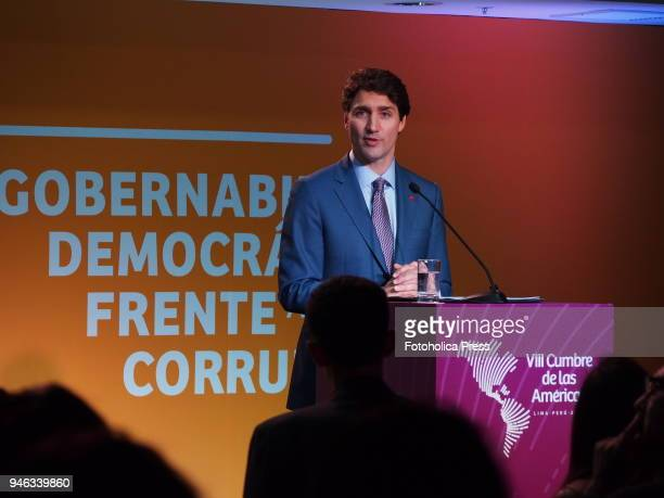 Justin Trudeau Prime Minister of Canada giving a press conference in the framework of the VIII Summit of the Americas The event takes place on April...
