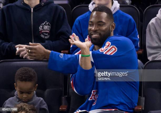 Justin Tuck seen at the Calgary Flames Vs New York Rangers game at Madison Square Garden on February 5 2017 in New York City