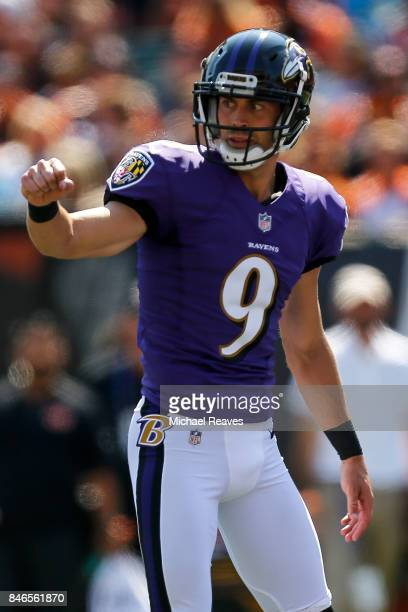 Justin Tucker of the Baltimore Ravens celebrates after kicking a field goal during the game against the Cincinnati Bengals at Paul Brown Stadium on...
