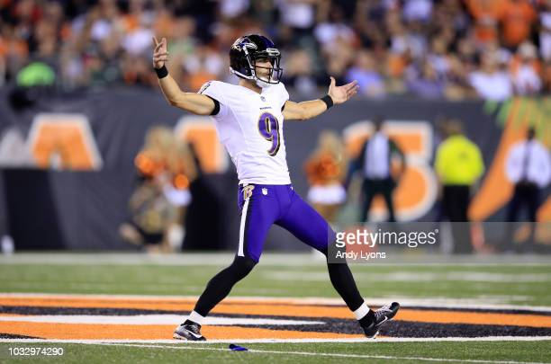 Justin Tucker of the Baltimore Ravens celebrates after making a field goal against the Cincinnati Bengals at Paul Brown Stadium on September 13 2018...