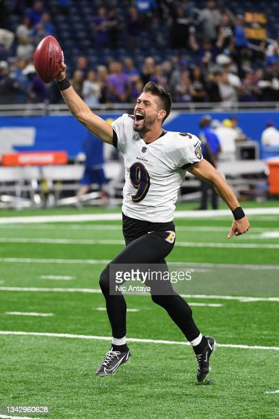 Justin Tucker of the Baltimore Ravens celebrates the winning field goal at the end of the game against the Detroit Lions at Ford Field on September...