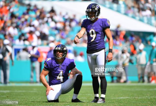 Justin Tucker of the Baltimore Ravens in action against the Miami Dolphins at Hard Rock Stadium on September 08 2019 in Miami Florida