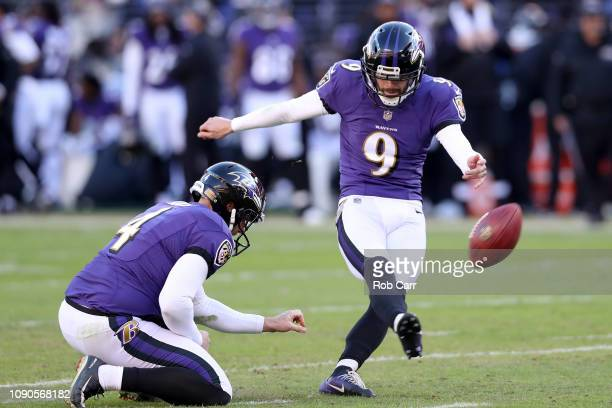 Justin Tucker of the Baltimore Ravens kicks a field goal against the Los Angeles Chargers during the third quarter in the AFC Wild Card Playoff game...