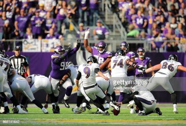 Justin Tucker of the Baltimore Ravens kicks a field goal in the third quarter of the game against the Minnesota Vikings on October 22 2017 at US Bank...
