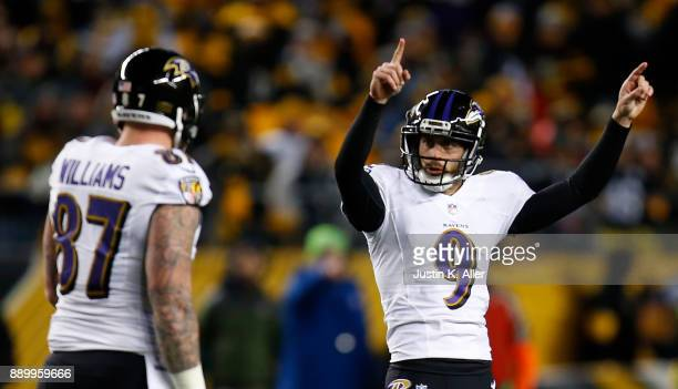 Justin Tucker of the Baltimore Ravens reacts after kicking a field goal in the third quarter during the game against the Pittsburgh Steelers at Heinz...