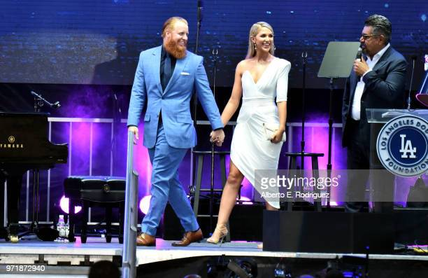 Justin Turner and Kourntey Turner attend the Fourth Annual Los Angeles Dodgers Foundation Blue Diamond Gala at Dodger Stadium on June 11, 2018 in Los...