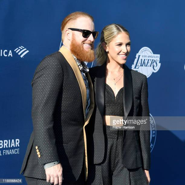 Justin Turner and Kourtney Pogue attend the 5th Anniversary Los Angeles Dodgers Foundation Blue Diamond Gala at Dodger Stadium on June 12 2019 in Los...