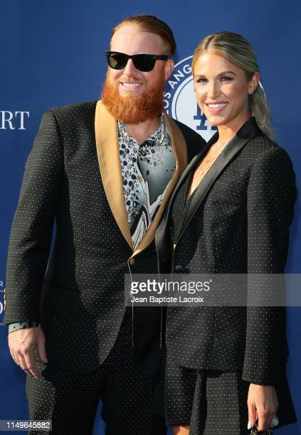 Justin Turner and Kourtney Pogue attend the 5th Annual Blue Diamond Foundation at Dodger Stadium on June 12 2019 in Los Angeles California