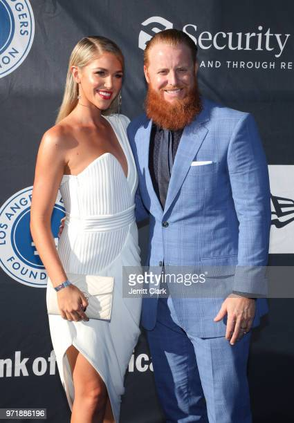 Justin Turner and Kourtney Turner 4th Annual Los Angeles Dodgers Foundation Blue Diamond Gala at Dodger Stadium on June 11 2018 in Los Angeles...