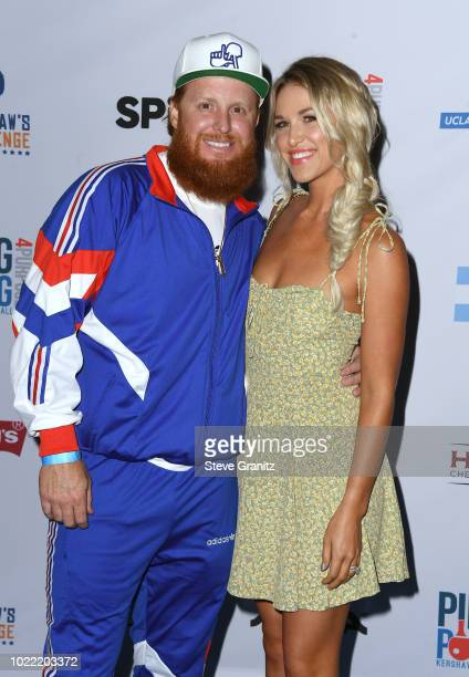 Justin Turner and Kourtney Turner attend the 6th annual PingPong4Purpose at Dodger Stadium on August 23 2018 in Los Angeles California