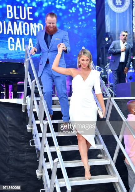 Justin Turner and Kourtney Turner attend the Fourth Annual Los Angeles Dodgers Foundation Blue Diamond Gala at Dodger Stadium on June 11 2018 in Los...