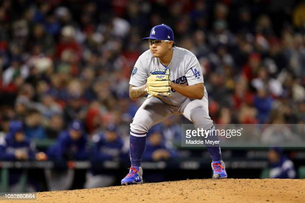 Justin Turner of the Los Angeles Dodgers fields his position during the sixth inning against the Boston Red Sox in Game One of the 2018 World Series...