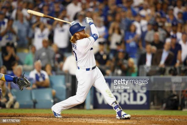 Justin Turner of the Los Angeles Dodgers hits the winning home run in the bottom of the ninth inning making the score 41 during Game Two of the...