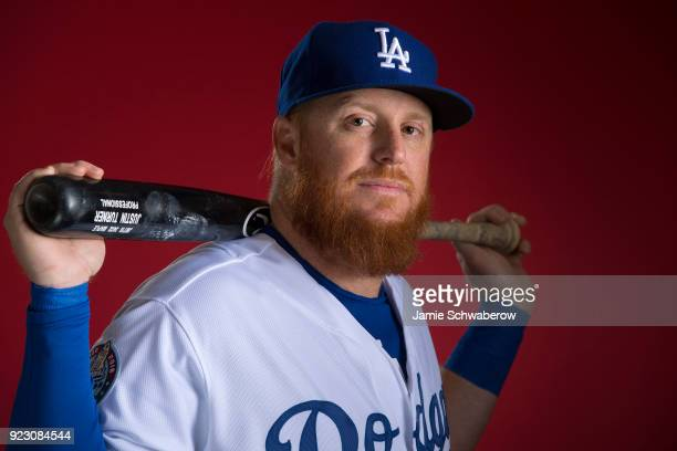 Justin Turner of the Los Angeles Dodgers poses during MLB Photo Day at Camelback Ranch Glendale on February 22 2018 in Glendale Arizona