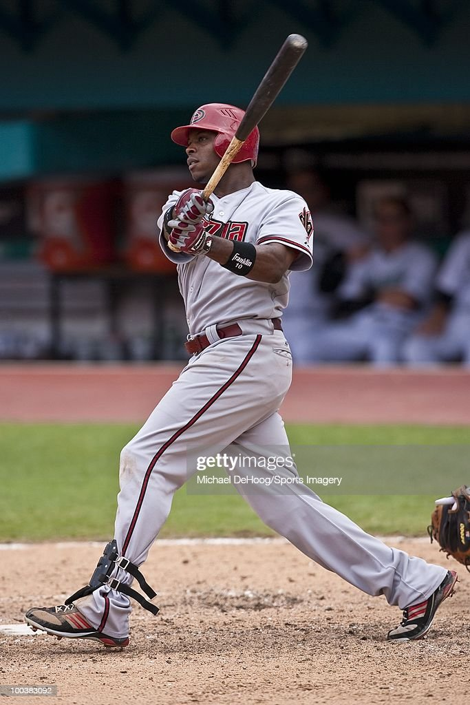 Justin Upton #10 of the Arizona Diamondbacks bats during a MLB game against the Florida Marlins in Sun Life Stadium on May 18, 2010 in Miami, Florida.