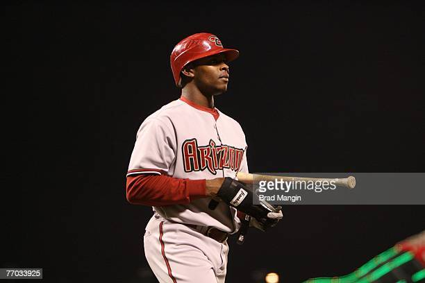 Justin Upton of the Arizona Diamondbacks during the game against the San Francisco Giants at ATT Park in San Francisco California on September 12...