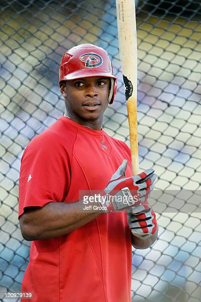 Justin Upton of the Arizona Diamondbacks looks on prior to the start of the game against the Los Angeles Dodgers at Dodger Stadium on July 30 2011 in...
