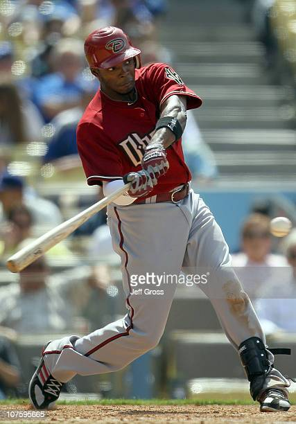 Justin Upton of the Arizona Diamondbacks plays in the game against the Los Angeles Dodgers at Dodger Stadium on June 2 2010 in Los Angeles California