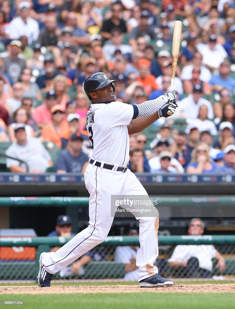 Justin Upton #8 of the Detroit Tigers bats during the game against the Kansas City Royals at Comerica Park on July 17, 2016 in Detroit, Michigan. The Tigers defeated the Royals 4-2.