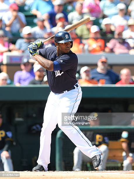 Justin Upton of the Detroit Tigers bats during the Spring Training game against the the Florida Southern College Moccasins at Joker Marchant Stadium...
