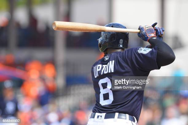 Justin Upton of the Detroit Tigers bats during the Spring Training game against the Toronto Blue Jays at Publix Field at Joker Marchant Stadium on...
