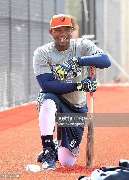 Justin Upton of the Detroit Tigers looks on and smiles during the Spring Training workout day at the TigerTown Facility on February 22 2016 in...