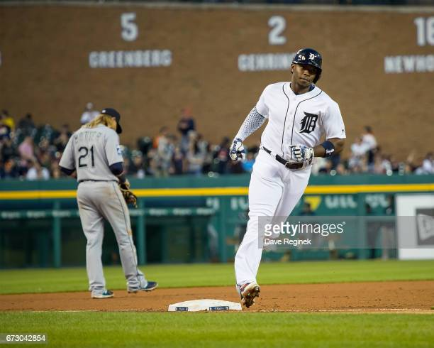 Justin Upton of the Detroit Tigers rounds third base after hitting a fourth inning home run during a MLB game against the Seattle Mariners at...