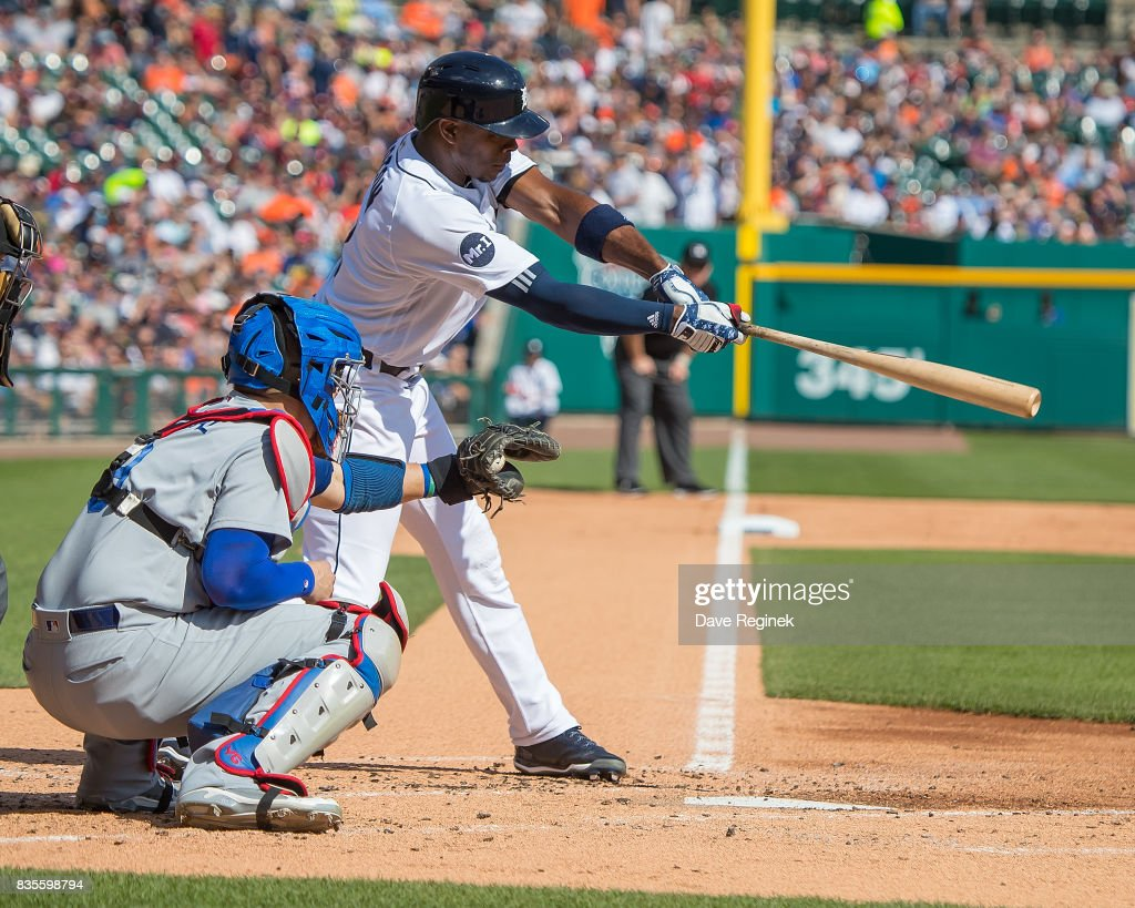Justin Upton #8 of the Detroit Tigers strikes out in the first inning during a MLB game against the Los Angeles Dodgers at Comerica Park on August 19, 2017 in Detroit, Michigan.