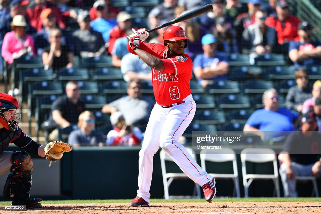 Justin Upton #8 of the Los Angeles Angels in action during the game between Cleveland Indians and Los Angeles Angels on February 28, 2018 in Tempe, Arizona.