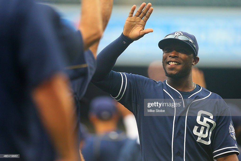 Justin Upton #10 of the San Diego Padres celebrates after defeating the New York Mets 8-7 at Citi Field on July 30, 2015 in Flushing neighborhood of the Queens borough of New York City.