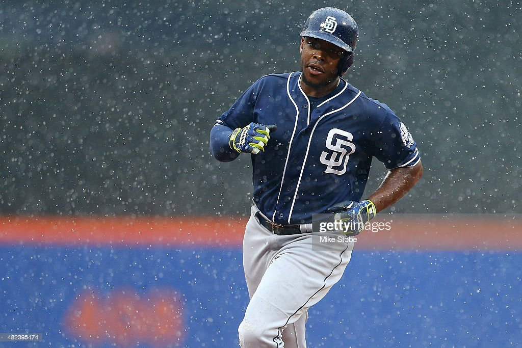 Justin Upton #10 of the San Diego Padres rounds the bases after hitting a three run home run in the ninth inning against the New York Mets at Citi Field on July 30, 2015 in Flushing neighborhood of the Queens borough of New York City.