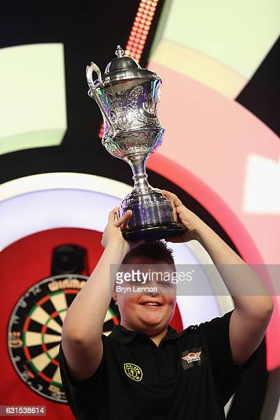 Justin van Tergouw of The Netherlands celebrates winning the youth final of the BDO Lakeside World Professional Darts Championships on January 12...