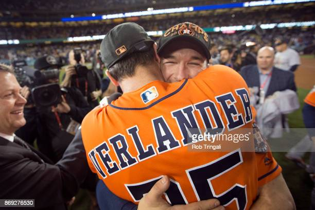 Justin Verlander and Alex Bregman of the Houston Astros celebrate on the field after the Astros defeated the Los Angeles Dodgers in Game 7 of the...