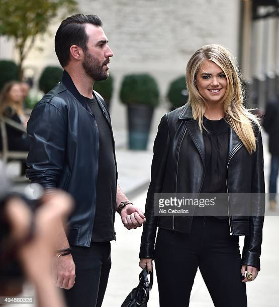 Justin Verlander and Kate Upton are seen in Soho on October 29 2015 in New York City