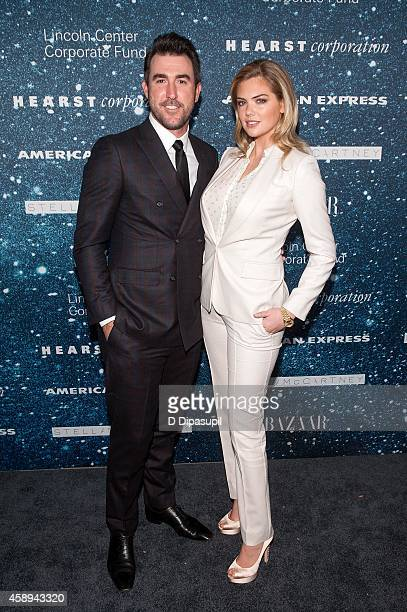 Justin Verlander and Kate Upton attend the 2014 Women's Leadership Award Honoring Stella McCartney at Alice Tully Hall at Lincoln Center on November...