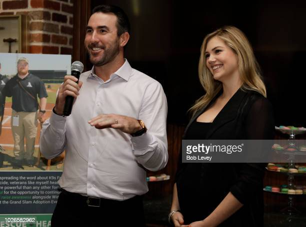 Justin Verlander and Kate Upton host a reception for Grand Slam Adoption Event and Wins For Warriors Foundation to raise funds for adoptable dogs to...