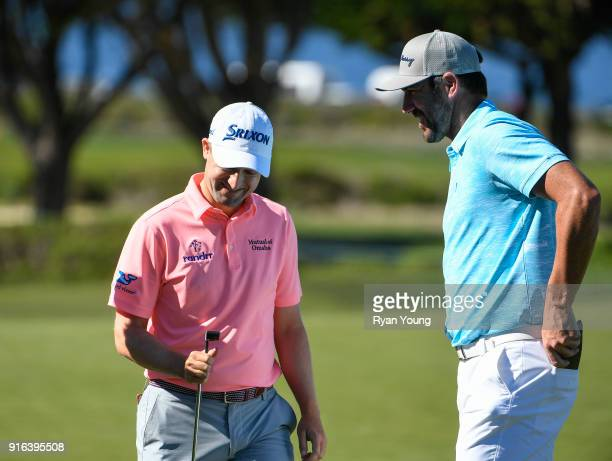 Justin Verlander and Russell Knox share a laugh during the second round of the ATT Pebble Beach ProAm at Pebble Beach Golf Links on February 9 2018...