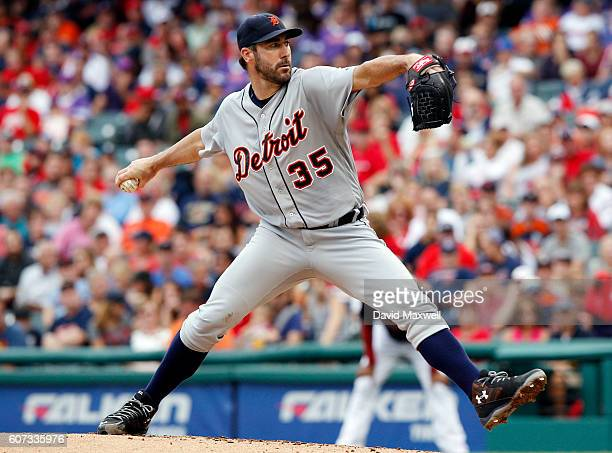 Justin Verlander of the Detroit Tigers pitches against the Cleveland Indians in the second inning at Progressive Field on September 17 2016 in...